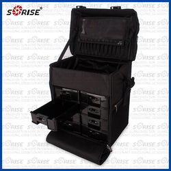 1680D nylon cosmetic rolling makeup trolley bag with drawers
