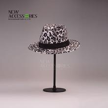 wholesale black leopard cotton fedora hat