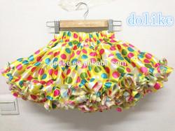 new design!wholesale colorful boutique satin polka dot skirt baby ruffle skirt