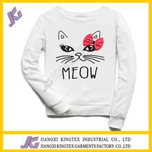 white color /cat printing /custom design children sweater