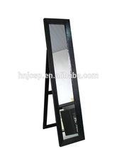 Decorative black croco faux leather rectangular standing mirror