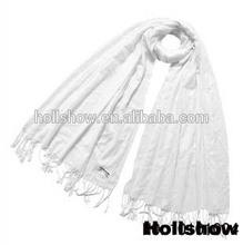 Elegant White Acrylic Scarf with Fringes Cheap India Pashmina Wholesale