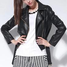 NZ3057 cheap street women leather coats hot selling black ladies leather jacket