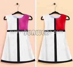 2014 latest Baby Girls summer Sleeveless Grid Color Splicing Dress party Birthday Gift Dress for children designs SV003921