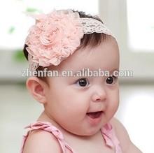 2014 new style cute headband baby,slik lace chiffon fabric flower baby headwear/headband for girl/children