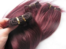 Cheap burgundy cambodian remy hair weave