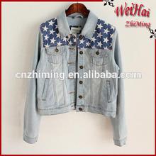 cute girls stone wash old finish star printed denim jackets with american flag print
