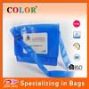 Fashion non woven shiny lamaintion messenger shoudler bag/file bag