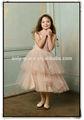 Mangas casquillo escote recto champán con gradas de tul con bowknot hermosa flor vestido girls' gl0161