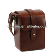 Burgundy real leather camera bag for take photoes