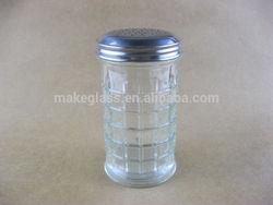 glass spice jar, glass cruet with graticule line, glass kitchenware