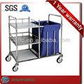 Sj-ss010 SS304 hospital inoxidable lavandería carros y maleta con ruedas, Carro de acero inoxidable con lino