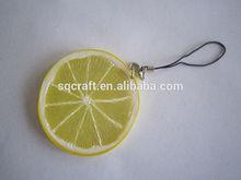 realistic simulation/fake/artificial orange/lemon piece/fruit mobile pendant,straps/drop ornament/keychain,promotion gift