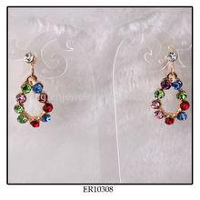 Colorful Rhinestone Drop Earring Made In Korea