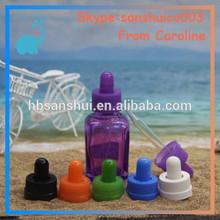 Stock now child resistant cap purple painted square 15ml 30ml glass e cig bottle