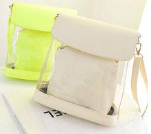 D32 Jelly candy Crystal bucket PU handbags shoulder bags