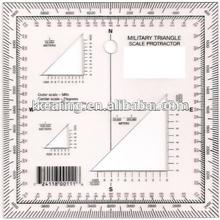 KEARING aviation square protractor,plastic Military square ruler, square scale protractor#KMP-2