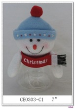 Plush Snowman small plastic candy container
