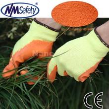 NMSAFETY EN388 2242 10 gauge Polycotton liner coating orange latex on palm garden glove work gloves