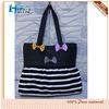 Black Stripe Skirt Pendulum Type Canvas Handbag With Colorful Bowknot