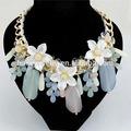 Grueso de la moda cuentas de collar de flores, declaración collar babero, yiwu joyería( jnk0371)