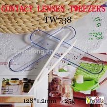 TW738 long white 12CM contact lens tweezers