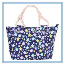 2014 fashion promotion blue flower ladies colorful handbag shoulder bags with long handles wholesale