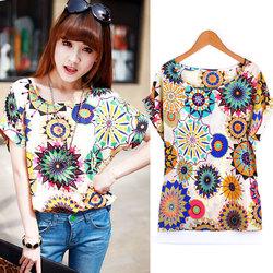 Cheap Korea style Chiffon t-Shirt Sunflower Print Batwing Short Sleeve sexy girls printed t-shirt SV001434