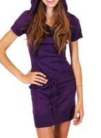 Fashion square women's short sleeve cotton polyester polo drawstring plain long hoodie dress