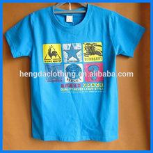 Kid's Round neck Blue Printed tshirt,children's t shirt factory
