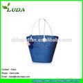 Luda branco PU alças azul bolsa artesanal de palha de trigo saco listrado sacola de palha