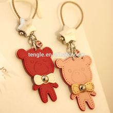 leather teddy bear keychain for couple