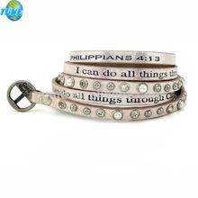 Customer Printed Good Works Real Leather Punk Taper Stud Bracelet Word Saying Bracelets
