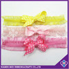 Fancy Infant Girls Headband Lace Elastic Hairband with Grosgrain Bow