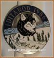 1986 iditarod trenós puxados por cães pino botão emblema do alasca eua chapeamento de prata iditarod emblema do cão