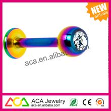 Rainbow Anodized Titanium Clear Gem Labret Monroe Piercing Body Jewelry