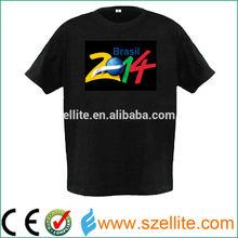2015 el t-shirt, world cup 2014 t-shirt, light up t-shirt 2014