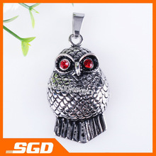 Free shipping !! Charm owl Jewelry Pendant a fat cute owl with two red crystal eyes QY1359 USD9.17