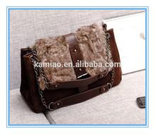 2014 hot sale winter fashion womens brown plain leather fur shoulder messenger bag handbag with chain handle