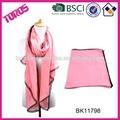 de color sólido abrigo de señora mantón bufanda de poliéster de color rosa pañuelo de encaje