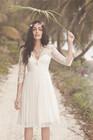 2014 Summer Lace Long Sleeves V-Neck Chiffon Short Wedding Dress