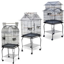 "Large Canary Parakeet Cockatiel LoveBird Finch Roof Top Bird Cage With Stand --18""x14""x63"" *Black"