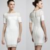 White Short Sleeves Celebrity Fashion Bandage Dress with hole DM672