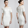 White Short Sleeves Celebrity Fashion Bandage Dress with hole DM672