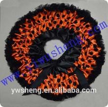 Wholesale Halloween girl skirt with black ruffle,polka dots adult pettiskirt