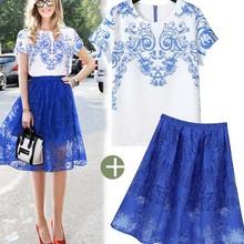 NZ11026 summer short sleeve tshirts new street design women skirts chiffon set