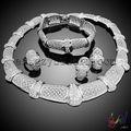 Haut de gamme mode bijoux en argent bijoux de mode d'argent pour la fête tradition africaine ensemble de bijoux