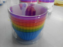 12 Pack Silicone Cupcake Liners for 12pcs Cupcakes into a Clear PVC Containers