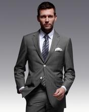 Super 130's 100% lã notch Lape dois botões l cinza design uniforme escritório
