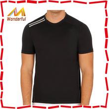 Two stripe on shoulder plain organic cotton t-shirts t-shirts 60% cotton 40% polyester 200GSM China manufacturer